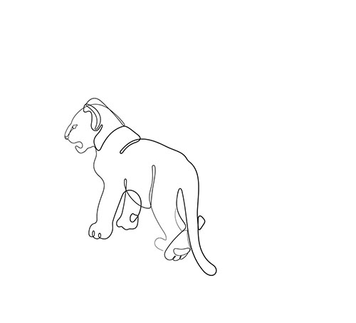 Lion cub one line drawing